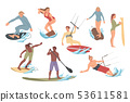 Set of people performing activities on the water surfing, riding. Summer leisure. 53611581