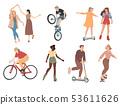 People. Summer outdoors activities. Walking, dancing, riding bicycle, playing, skateboarding. 53611626