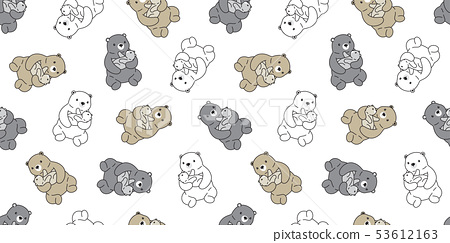 Bear seamless pattern vector polar bear kid tile 53612163