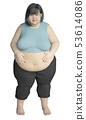 Fat woman holding a big belly 53614086