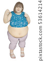 Big belly plump woman deciding on a diet 53614214