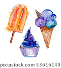 Tasty ice cream in a watercolor style. Aquarelle sweet dessert illustration set. Isolated desserts 53616149