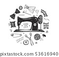 Hand drawn set with sewing and knitting tools and accessories threads, scissors, needles, metering 53616940