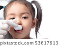 The doctor is entering medicine for girls. 53617913
