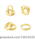 Set of gold engagement rings isolated on white background, vector 53619326