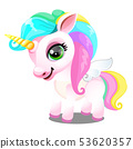 Cute unicorn pony with mane colors of rainbow isolated on white background. As a symbol of tolerance 53620357
