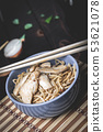 Asian noodles with chicken meat 53621078