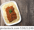 Tasty spaghetti with vegetarian bolognese sauce 53621246