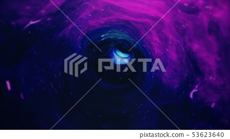 3D illustration tunnel or wormhole, tunnel that can connect one universe with another. Abstract 53623640
