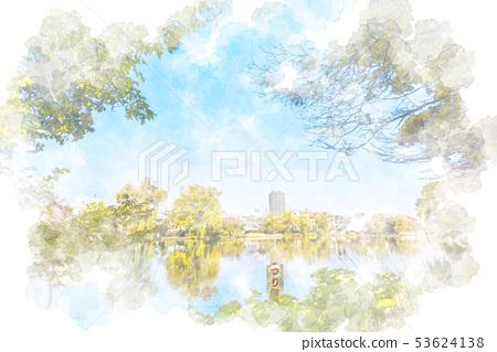 가을의 샤 쿠지이 공원 수채화 화풍 53624138