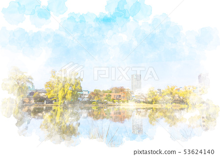 Autumn at Ishigami Park Watercolor style 53624140