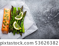 Grilled salmon with green asparagus 53626382