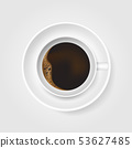 Realistic white cup of coffee with foam and coffee 53627485