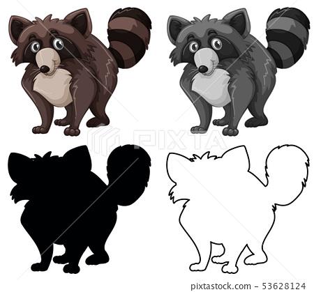 Set of raccoon character 53628124