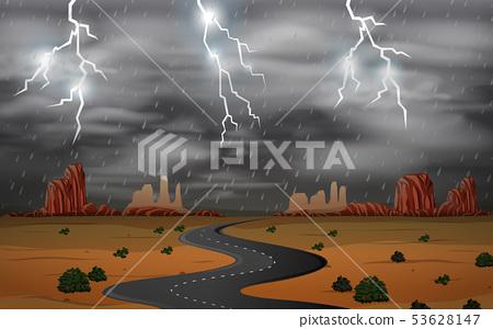 Thunderstorm at desert landscape