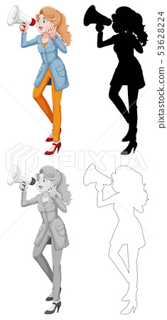 Woman with megaphone character 53628224