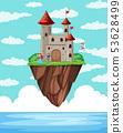 A castle island above the ocean 53628499