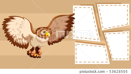 Owl on note template 53628505