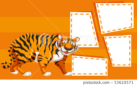A tiger on note template 53628571