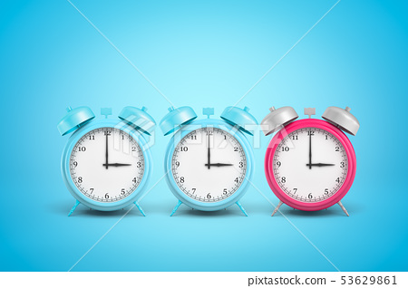 3d rendering of three retro alarm clocks, one pink, the other two blue, standing in row on light 53629861