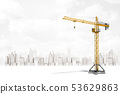 3d rendering of construction crane on white city skyscrapers background 53629863
