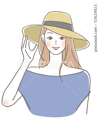 모자를 착용 여성 53629923