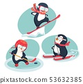 active penguins in winter concept 53632385