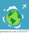 Plane travel around the world with nature 53633557