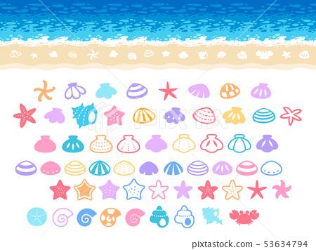 圖圖標集的大海和沙灘(貝類,海星,螃蟹) 53634794