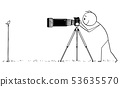 Vector Cartoon of Professional Photographer Taking Photo of Small Bird in Nature 53635570