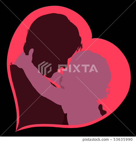 baby wants to kiss mom silhouettes in heart 53635990