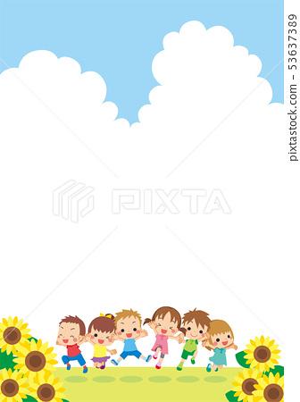 Children jumping vertically under the blue sky [Vertical] 53637389