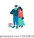 Young Man and Woman Hugging, Happy Romantic Couple Walking Dressed in Seasonal Clothes Vector 53639818