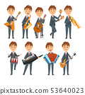 Musicians Boys Playing Different Musical Instruments Set, Talented Children Characters Playing 53640023