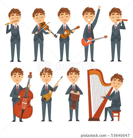 Musicians Boys Playing Different Musical Instruments Set, Talented Children Characters Playing Flute 53640047
