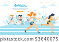 Athletics Sportswomen Take Part in Relay Race Run 53640075