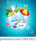 Vector Hello Summer Holiday Illustration with Flower and Beach Ball on Ocean Blue Background 53641021