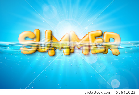 Vector Summer Illustration with 3d Typography Letter on Underwater Blue Ocean Background. Realistic 53641023