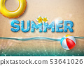 Vector Summer Illustration with Beach Ball and Float on Sandy Ocean Background. Summer Vacation 53641026