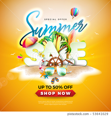 Summer Sale Design with Sunglasses and Exotic Palm Leaves on Tropical Island Background. Vector 53641029