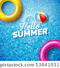 Summer Illustration with Float on Water in the Tiled Pool Background. Vector Summer Holiday Design 53641031