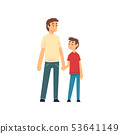 Dad and Son Holding Hands, Father and His Child Having Good Time Together, Best Dad Cartoon Vector 53641149
