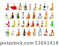 Set of different bottles of alcohol drinks with 53641418