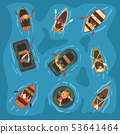 Collection of Men Rowing Wooden and Rubber Inflatable Boats in the Sea, Top View Vector Illustration 53641464