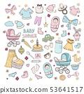 Set of elements for celebrating baby birth, girl 53641517