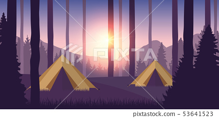 camping adventure in the wilderness in the forest beautiful purple landscape with sunshine 53641523