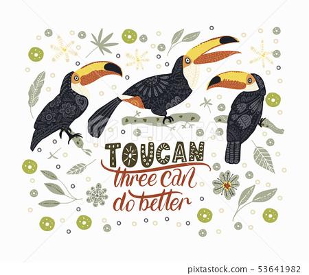 Bright bird Toucan. Vector. 53641982