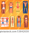 People Sunbathing on Beach Towels Set, Top View of Lying Young Men and Women in Swimwear Vector 53642630