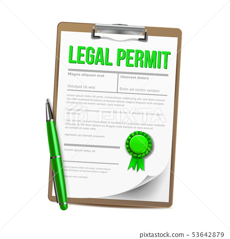 List Of Paper With Legal Permit Clipboard Vector 53642879