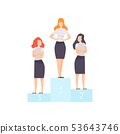 Successful Businesswomen Standing on Pedestal, Business Competition among Female Office Workers 53643746
